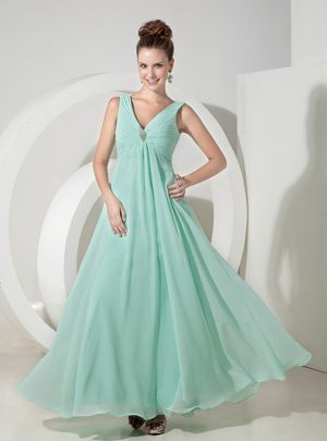 Popular Apple Green V-neck Bridesmaids Dresses in Coffee Bay Beading Accent
