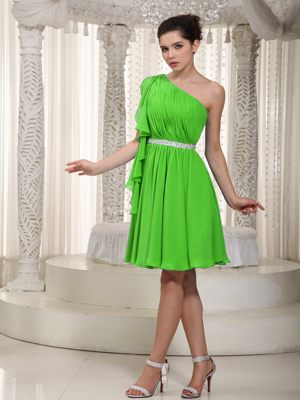 Spring Green One Shoulder Mini-length Beaded Bridesmaid Dresses in Centurion