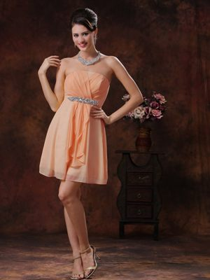 Customize Orange Bridesmaids Gown in Cape Town with Beading and Ruche