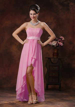 2013 New Style Pink High-low Bridesmaids Dresses in Brits with Belt Decorate