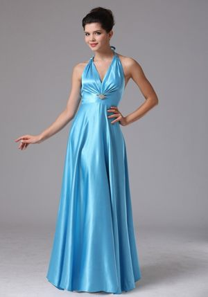 Stylish Custom Made Baby Blue Halter 2013 Bridesmaid Dress in Bredasdorp