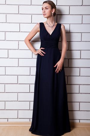 Black Chiffon V-neck Dresses for Bridesmaid in Boksburg Column Style