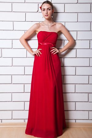 Empire Wine Red Chiffon Ruched Strapless Bridesmaids Gown in Bloemfontein