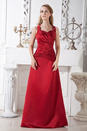 Wine Red A-line Ruched Bridesmaids Dresses in Bisho Halter Top Neckline