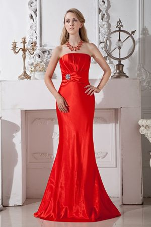 Red Column Strapless Bridesmaid Dress in Bethlehem Ruche and Beading Accent