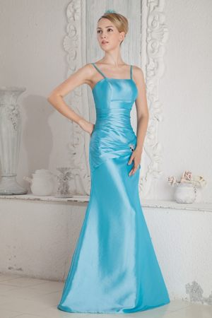 Column Straps Beading and Ruche for Aqua Blue Bridesmaid Dresses in Benoni