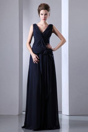 Navy Blue Empire Ruched Dress for Bridesmaids in Belmont V-neck Design