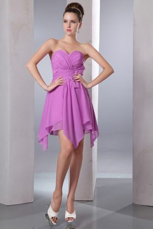 Lavender Asymmetrical Hem for Bow Accent Dresses for Bridesmaid in Bellville