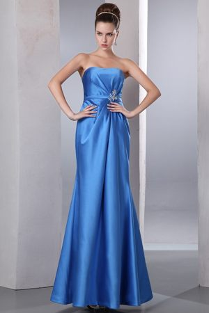 Blue Column Ankle-length Bridesmaids Dresses in Bedfordview with Beading