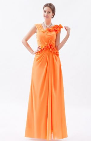 Sheath Asymmetrical Flowers Decorate for Bridesmaids Gown in Alberton
