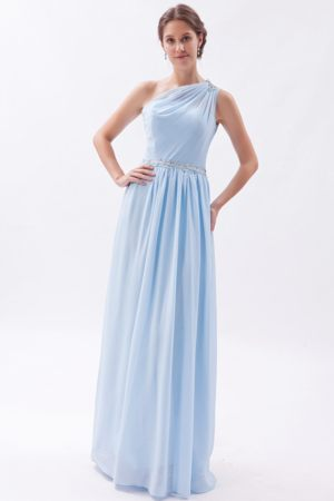 One Shoulder Light Blue Empire with Beading for Bridesmaids Dresses in Addo