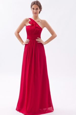 One Shoulder Chiffon Ruched Wine Red Empire Bridesmaid Dress in Gisborne
