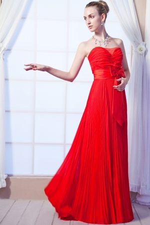 Red Empire Strapless Dress for Bridesmaids in Whangarei with Ruches Accent