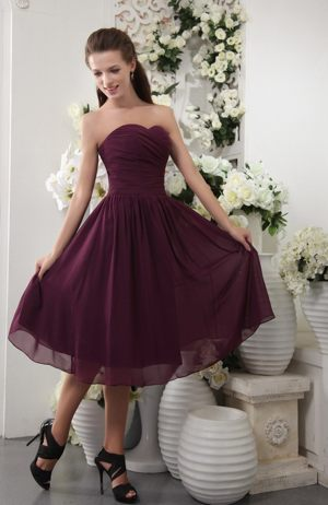 Dark Purple Tea-length Chiffon Pleat Dresses for Bridesmaid in New Plymouth