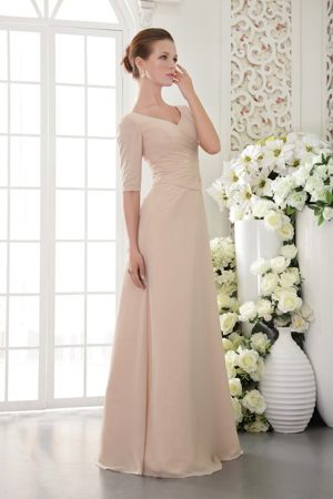 Champagne V-neck Beaded Half Sleeves for Bridesmaids Dresses in Nelson