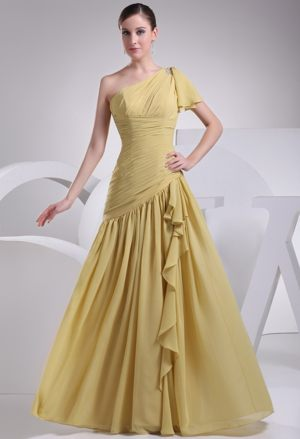 Yellow One Shoulder Asymmetric Ruched Bridesmaids Gown in Bloemfontein