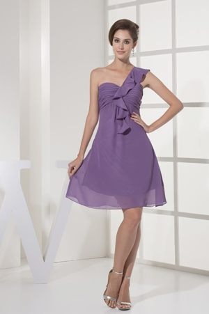 One Shoulder Purple Bridesmaid Dress in Bethlehem Ruching and Ruffles Accent