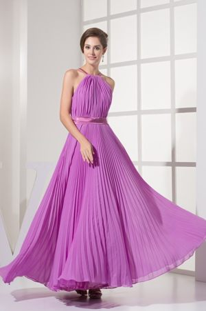 Pleating Decorate Halter Ankle-length Bridesmaid Dresses in Benoni with Sash