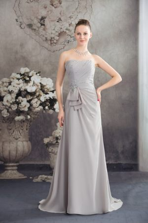 Half Bowknot and Beading Accent Ruched Grey Dress for Bridesmaids in Belmont