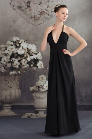 Halter Beaded Black Dresses for Bridesmaid in Bellville with Plunging Neckline