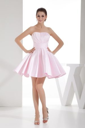 A-line Sweetheart Pink Mini-length with Ruche Bridesmaids Gown in Belfast