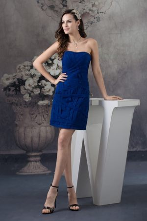 Recommended Blue Strapless Bridesmaid Dress in Barberton Mini-length Design