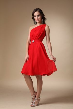 Red A-line One Shoulder Knee-length Beading for Bridesmaid Dresses in Ballito