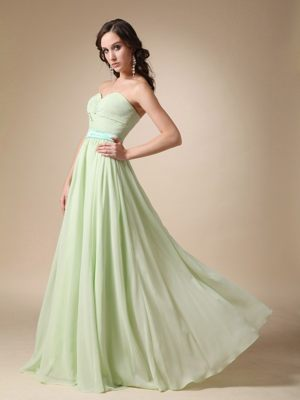 Yellow Green Empire Sweetheart Belt Accent Dress for Bridesmaids in Arniston