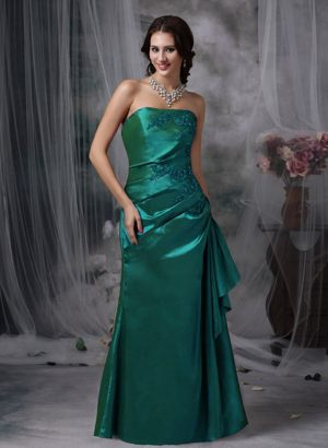 Strapless Appliques Turquoise Bridesmaid Dress in Gisborne Column Style