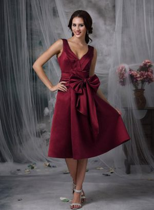 V-neck Tea-length Wine Red Dress for Bridesmaids in Whangarei Bow Accent