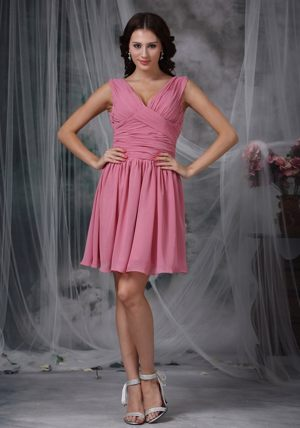 V-neck Mini-length Ruched Roes Pink Dresses for Bridesmaid in New Plymouth
