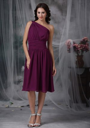 Purple One Shoulder Knee-length Chiffon Ruched Bridesmaids Gown in Rotorua