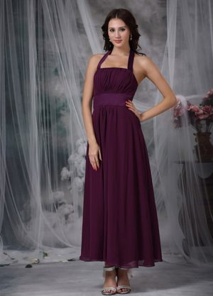 Halter Burgundy Empire Ankle-length Ruched Bridesmaid Dresses in Dunedin