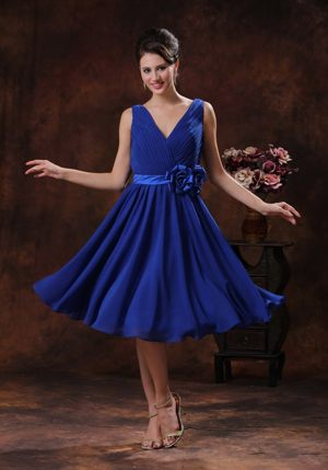 Roral Blue V-neck with Ruche Decorate Dress for Bridesmaids in Tauranga