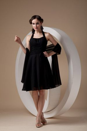 Popular Black Sheath Halter Ruched Dresses for Bridesmaid in Napier-Hastings