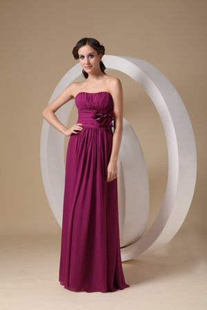 Violet Red Sheath Strapless Bridesmaids Gown in Hamilton Flower Decorate