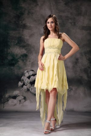 High Low Yellow Bridesmaid Dress in Wellington Pleats and Beading Accent