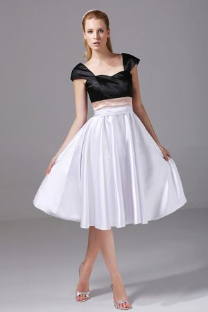 White and Black Knee-length Bridesmaid Dresses in Auckland with Cap Sleeves