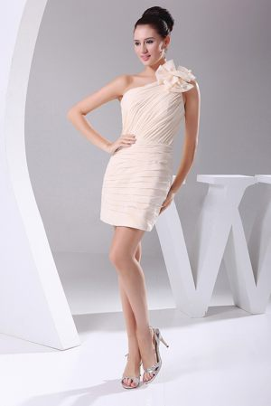 One Shoulder Flower and Ruches Champagne Bridesmaid Dress in Lyon
