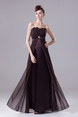 Rouen France Brown Beading and Ruches Strapless Bridesmaid Dress
