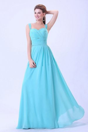 Straps Ruches Aqua Blue Empire Bridesmaid Dress in Roubaix France