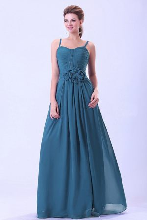Teal Spaghetti Straps Bridesmaid Dress with Flower in Caen France