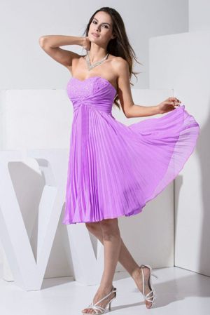Rennes France Sweetheart Beading Pleat Purple Bridesmaid Dress