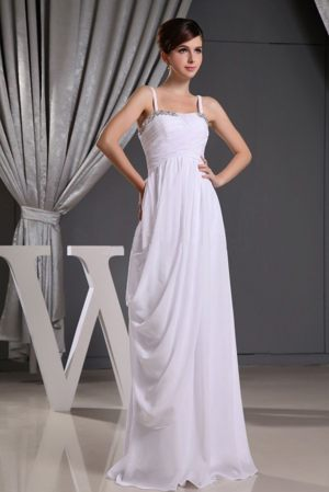 Straps Beading and Ruches White Bridesmaid Dress in Reims France