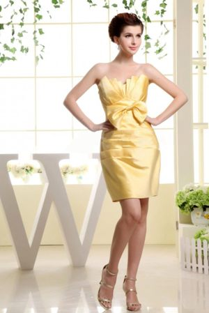 Gold Strapless Mini-length Bridesmaid Dress with Ruches and Bow