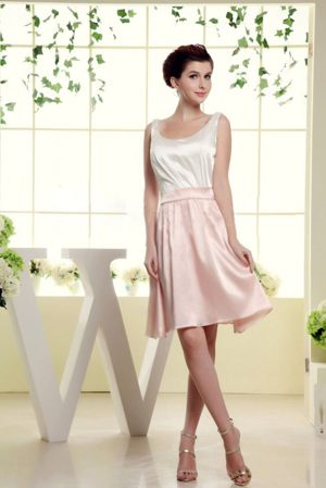 Knysna South Africa Scoop Bridesmaid Dress in White and Baby Pink
