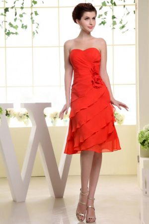 Hand Made Flowers and Ruffles Sweetheart Bridesmaid Dress in Red