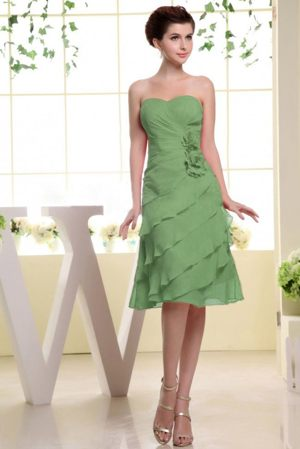 Olive Green Sweetheart Bridesmaid Dress with Flowers and Ruffles