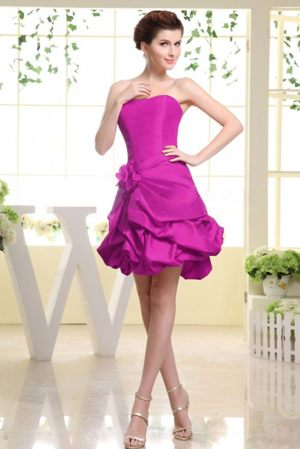 Hand Made Flower and Pick-ups Strapless Fuchsia Bridesmaid Dress