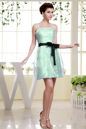 Spaghetti Straps Ruches Apple Green Bridesmaid Dress with Sash